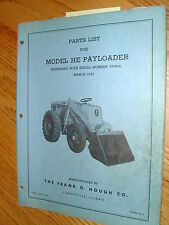 International Hough HE PARTS MANUAL BOOK CATALOG WHEEL PAYLOADER GUIDE LIST