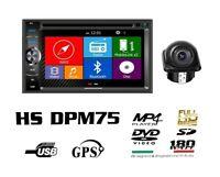 HARDSTONE HS DPM75 AUTORADIO 2 DIN BT Navigatore GPS DVD USB SD + RETROCAMERA