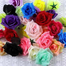 20-100PCS Fake Large Rose Floral Artificial Silk Flower Heads Wedding Home Decor