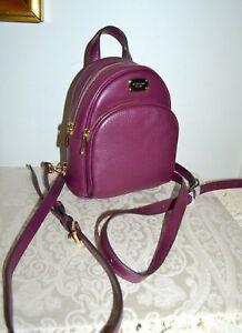 NWT $248 MICHAEL KORS XS Abbey Backpack Mini Plum Leather