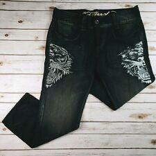 Ed Hardy Tiger Rhinestone Jeans Pants Denim Black Mens sz 40 Hip hop Baggy Loose