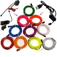 LED Light Glow El Wire String Strip Rope Car Xmas + 3V 12V USB Controller SS17