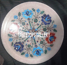 12'' White Marble Dish Plate Designer Floral Arts Inlay Dining Table Decor H3318