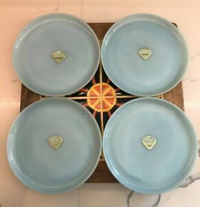 "Set Of 4 Vintage Fire King Turquoise Blue  9"" Dinner Plates w/ Original stickers"