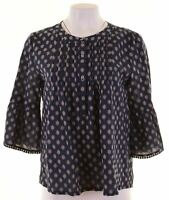 ANN TAYLOR Womens Blouse Top 3/4 Sleeve Size 14 Medium Blue Loose Fit  KD24