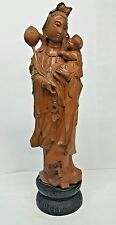 Antique Chinese Carved Wood Standing Guanyin Baby Height 15 3/8 inches