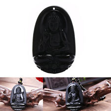 black natural a obsidian carved buddha pendant necklace rope men women gift Sz