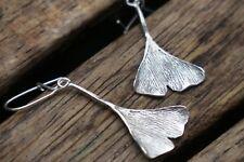 Silver Ginkgo Leaf Earrings, Leaf Earrings, Sterling Silver Earrings UK Handmade