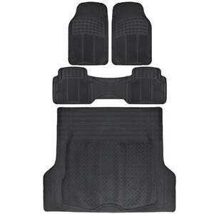 Motor Trend Odorless All Weather Black 4 PC Rubber Heavy Duty Rubber Floor Mats