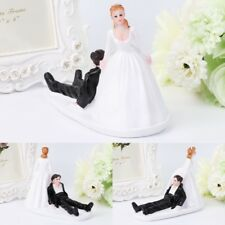 Running Groom Cute Funny Bride and Groom Wedding Cake Topper Figurine Decor
