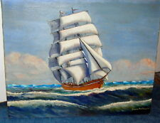 Vintage Oil On Canvas Nautical Painting. Yankee Clipper Signed Bruce Patterson