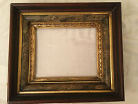 "Antique Empire Deep Frame Mahogany Gold Gilt Patterned 8x10"" opening"