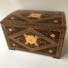 Vtg Hand Painted Wooden Box Hinged Chest Small Trunk Folk Art Wood 11x7 Flowers