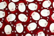 """Remnant*Christmas Santa Faces With Bells On Hats Maroon Flannel Fabric 42x28"""""""