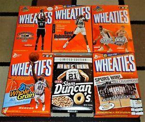 6 Wheaties cereal boxes San Antonio Spurs Robinson Duncan NBA Champions empty