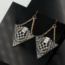 Boucles d'Oreilles Art Deco Argenté Pendant Triangle Chaine Doré Vintage AA 13
