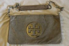 Tory Burch Tan Brown Snake Bombe Reva Leather Clutch Purse Silver Hardware $350