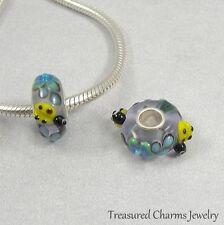 Ladybug Flowers Lampwork Glass Large Hole Bead Charm fits European Bracelets