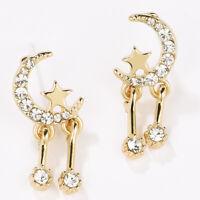 AM_ AM_ Women Luxury Party Moon Star Tassel Cubic Zirconia Stud Earrings Jewelry
