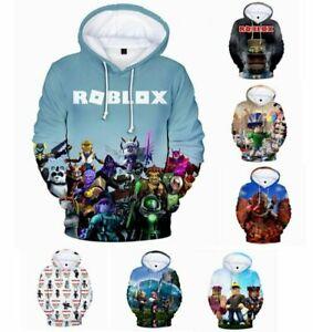 Roblox 3D Mens Teenagers Casual Hooded Hoodie Tops Jumper Pullover Sweatshirt