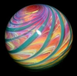 "MATT McKASTY GLASS MARBLE/1.442""-HIDDEN 1-UP MUSHROOM-TEAL,MAUVE,RED,PINK,MOCHA+"