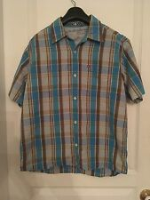 Quiksilver Button Up Shirt Blue/Brown Small