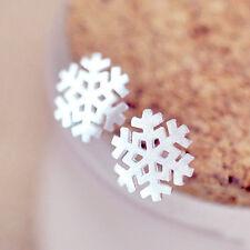 High Quality Women Sterling Silver Snowflake Flower Ear Studs Earrings Jewelry