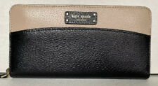 New Kate Spade New York Jeanne Large Continental Leather wallet Warm Beige Black