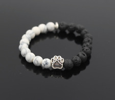 UK.Silver Dog/Cat Paw Black Lava Stone/White Howlite Gemstone Bead Bracelet.