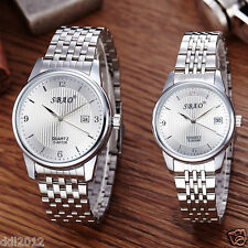 Mens Womens Stainless Steel Waterproof Business Date Analog Quartz Couple Watch