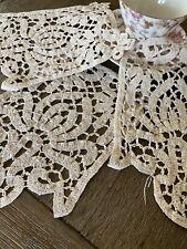 Vintage Ecru Cotton Brussels Tape Lace Doilies Set Of 3💖