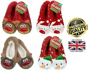 New Women's Sherpa Lining Co-Zees 3D Novelty Xmas Gift Christmas Slippers 4-7