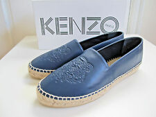 NEW Kenzo Uni Leather Tiger Flat Espadrilles Shoes Navy Blue sz. 40 10