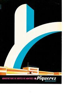 vintage 1955 color print ad E PIQUEREZ SA Swiss watch ebauche MID CENTURY ART