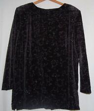 Vintage R & M Richards Petite Black Beaded Blouse Formal Top Shirt Velour 16 P