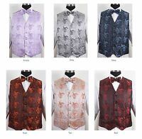 Men's Formal Jacquard Vest 4pc Set #V005 - Vest w/ Bow Tie Hanky & Neck Tie