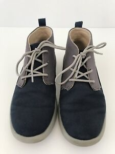 Boys UGG size 2 Chukka Boots Canoe Blue Gray Suede Leather Casual Sherpa Lined