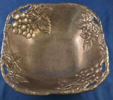 ARTHUR COURT GRAPE LEAF SALAD SERVING BOWL ALUMINUM Square Pre-Loved