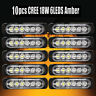 10X Ultra Slim Amber 6-LED Surface Mount Flashing Strobe Light Car Truck 12V 24V
