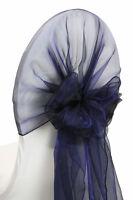 100 NAVY BLUE ORGANZA CHAIR HOOD WRAP WEDDING CHAIR COVER SASHES BOW - FREE SHIP