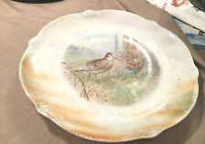 "Antique 12"" GERMAN Plate Platter Lusterware Pipers Birds"