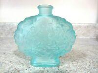 Fenton Glass Perfume Bottle Only, Aqua Blue Satin Daisies, No Stopper