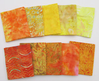"Sunshine Set Batik (42)5"" Charm Pack 100% cotton Triple Dyed Fabric Benartex"