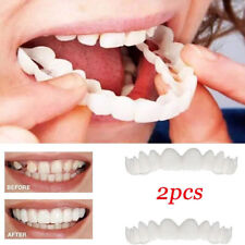 PT_ 2pcs Unisex Snap On Smile Comfort Fit Flex Finti Denti Top Veneer Protesi