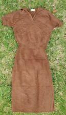 Vintage 1940s 50s Brown Wool Knit Two Piece Dress Minnesota Woolen Company