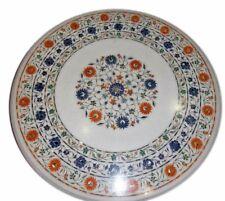 "36"" Handicraft Work Pietra Dura Inlay Marble Sofa Table Top Home Decor"