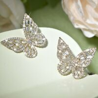 18k yellow gold gf made with SWAROVSKI crystal stud butterfly earrings Medium