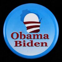"2008/12 Barack Obama Joe Biden Wisconsin 3"" Presidential Pinback Button"