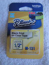 """Brother P-Touch M-131 BLACK PRINT CLEAR TAPE 1/2""""  012502605324 KM 131 12MM M"""