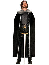 Mens Black Fur Cloak Jon Snow Medieval Fancy Dress Costume Adult Game Of Thrones
